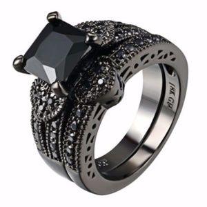 Black Diamond Gothic Heart Wedding Ring  Set 7